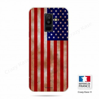 Coque Galaxy A6+ (2018) souple motif Drapeau USA - Crazy Kase
