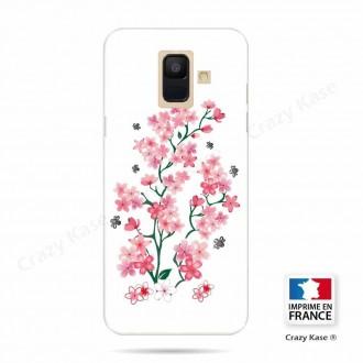 Coque Galaxy A6 (2018) souple motif Fleurs de Sakura sur fond blanc - Crazy Kase