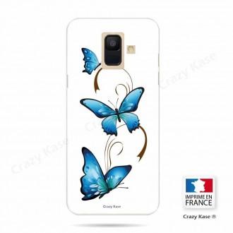 Coque Galaxy A6 (2018) souple motif Papillon et arabesque sur fond blanc - Crazy Kase