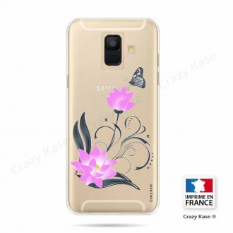 Coque Galaxy A6 (2018) souple motif Fleur de lotus et papillon - Crazy Kase