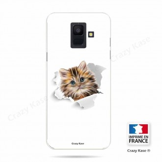 Coque Galaxy A6 (2018) souple motif Chat mignon - Crazy Kase