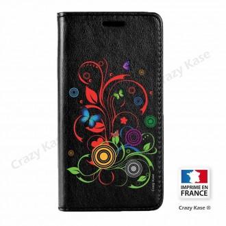 Etui Galaxy Core Prime noir motif Papillons et Cercles - Crazy Kase