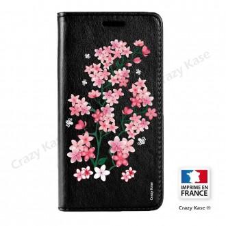 Etui Galaxy Core Prime noir motif Fleurs de Sakura - Crazy Kase