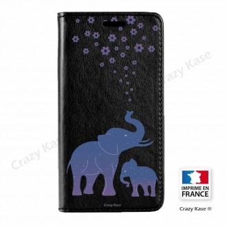 Etui Galaxy Core Prime noir motif Eléphant Bleu - Crazy Kase