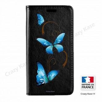 Etui Galaxy Core Prime noir motif Papillon sur arabesque - Crazy Kase