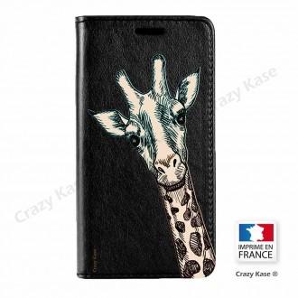 Etui Galaxy S7 Edge noir motif Tête de Girafe - Crazy Kase