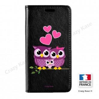 Etui Galaxy S7 Edge noir motif Famille Chouette - Crazy Kase