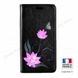 Etui Galaxy S7 Edge noir motif Fleur de lotus et papillon - Crazy Kase
