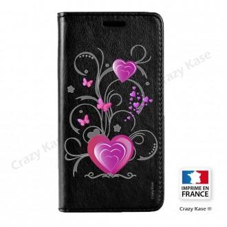 Etui Galaxy S7 Edge noir motif Cœur et papillon - Crazy Kase