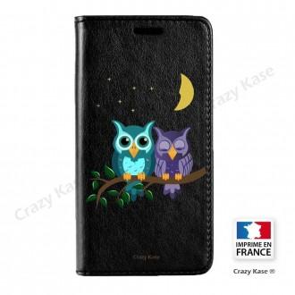 Etui Galaxy S7 noir motif Chouettes au clair de lune - Crazy Kase