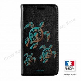 Etui Galaxy S7 noir motif Famille Tortue - Crazy Kase