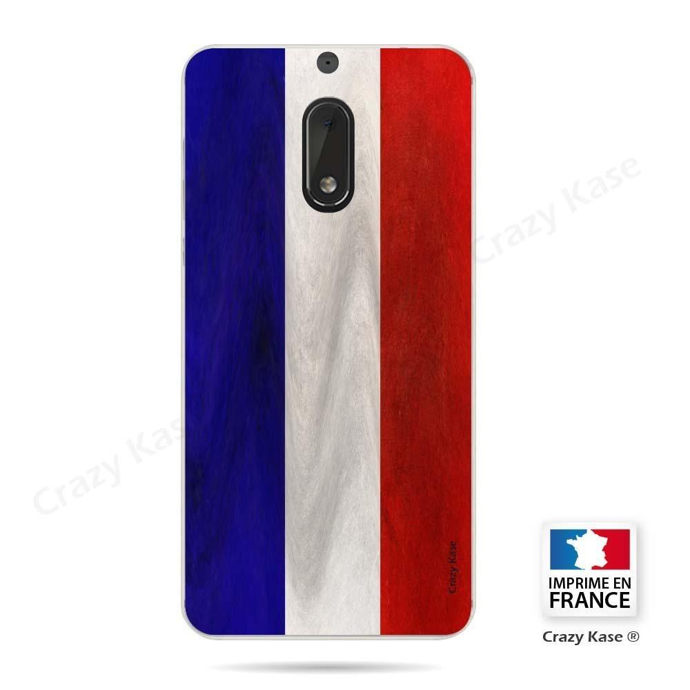 Coque Nokia 6 souple Drapeau Français Vintage- Crazy Kase