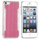 Coque plastique rose contour argenté pour iPhone 5