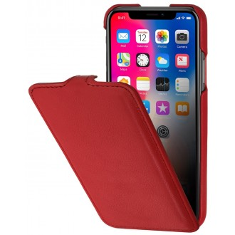 Etui iPhone X ultraslim rouge nappa en cuir véritable - Stilgut