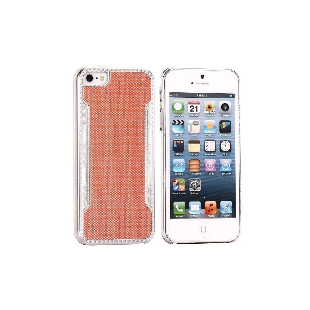 Coque plastique orange contour argenté pour iPhone 5
