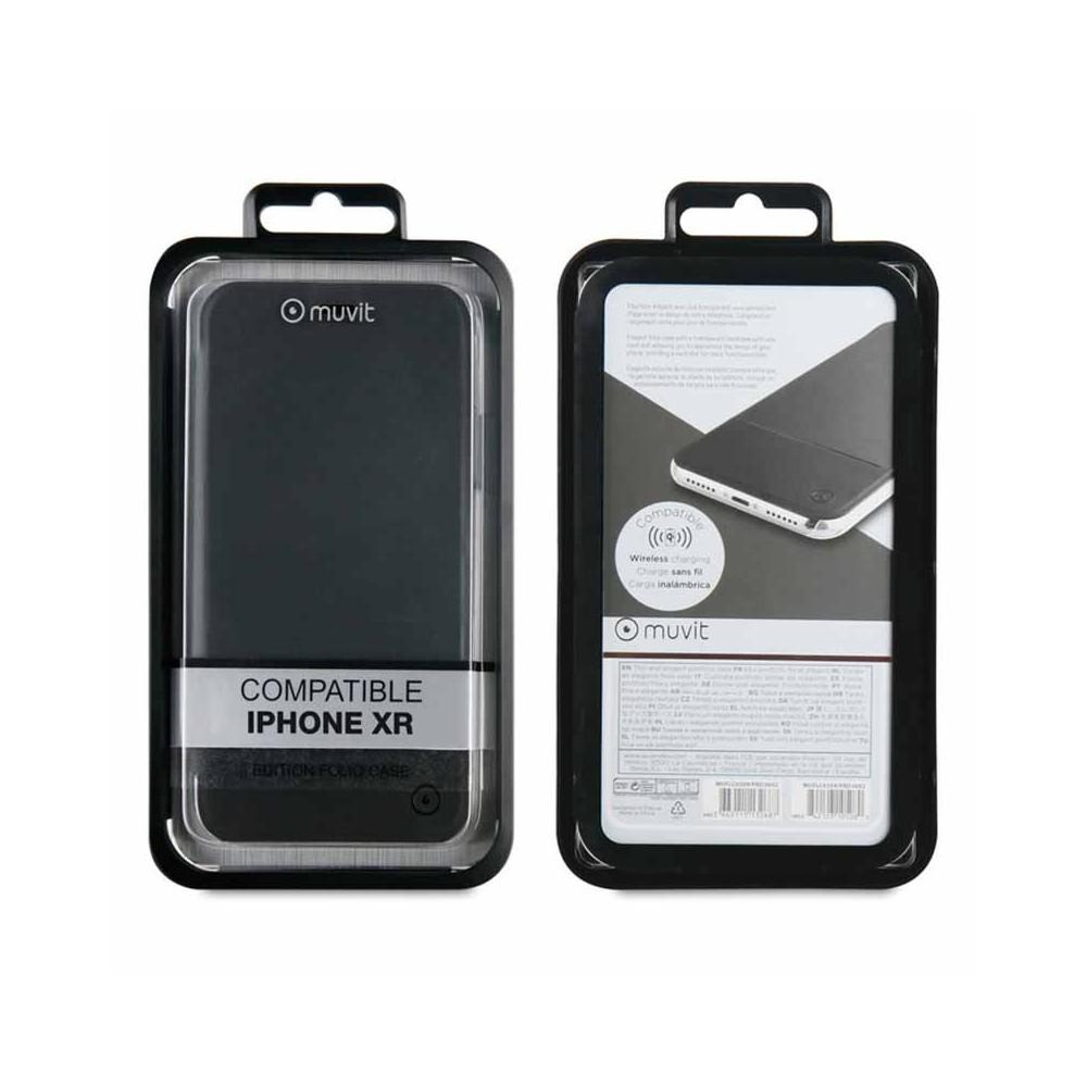 Etui iPhone Xr Folio Noir - Muvit