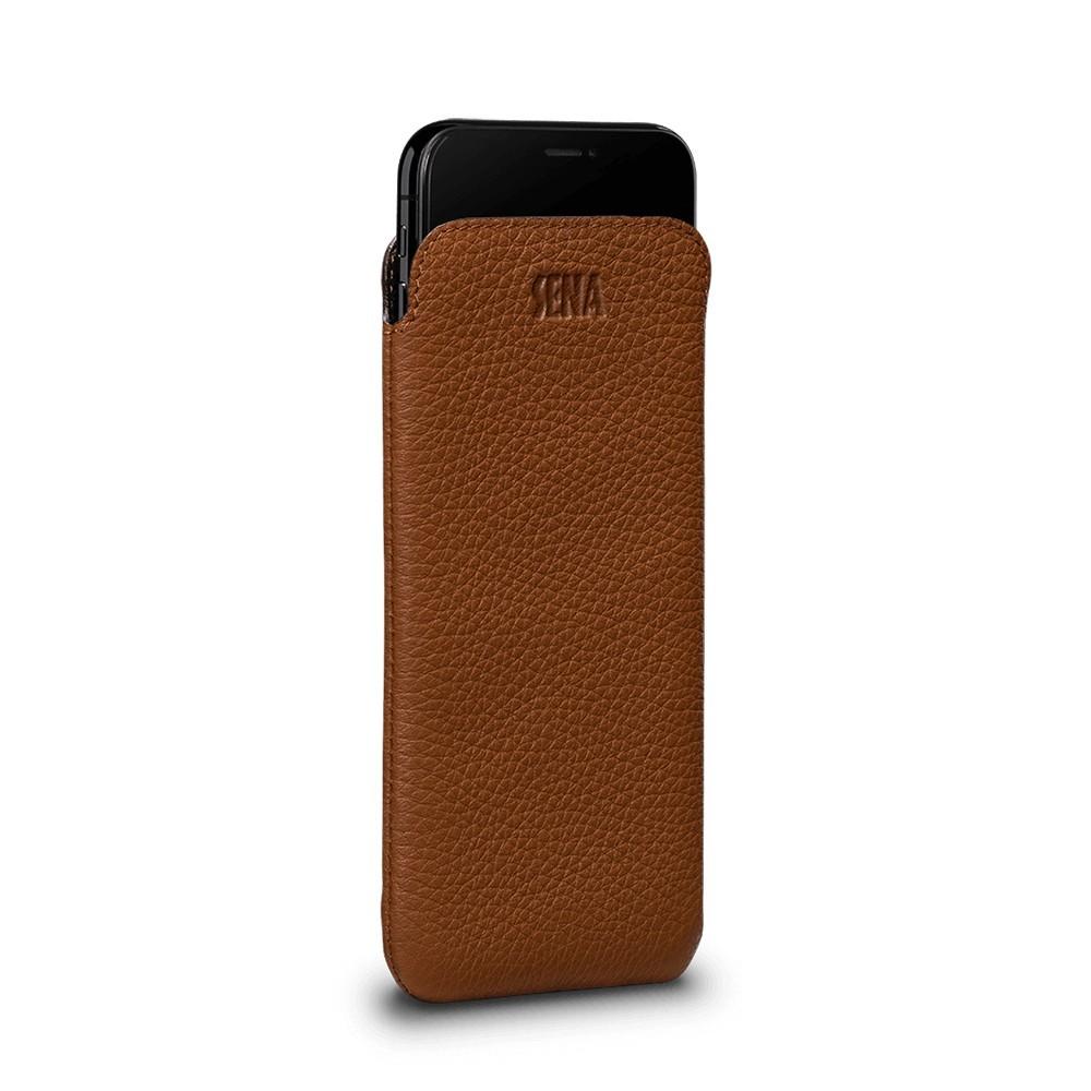 Housse iPhone Xs en cuir véritable marron - Sena Cases