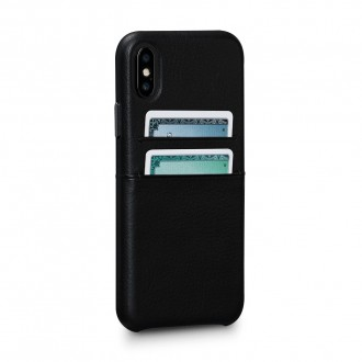 Coque iPhone Xs / iPhone X en cuir véritable porte-cartes noir - Sena Cases
