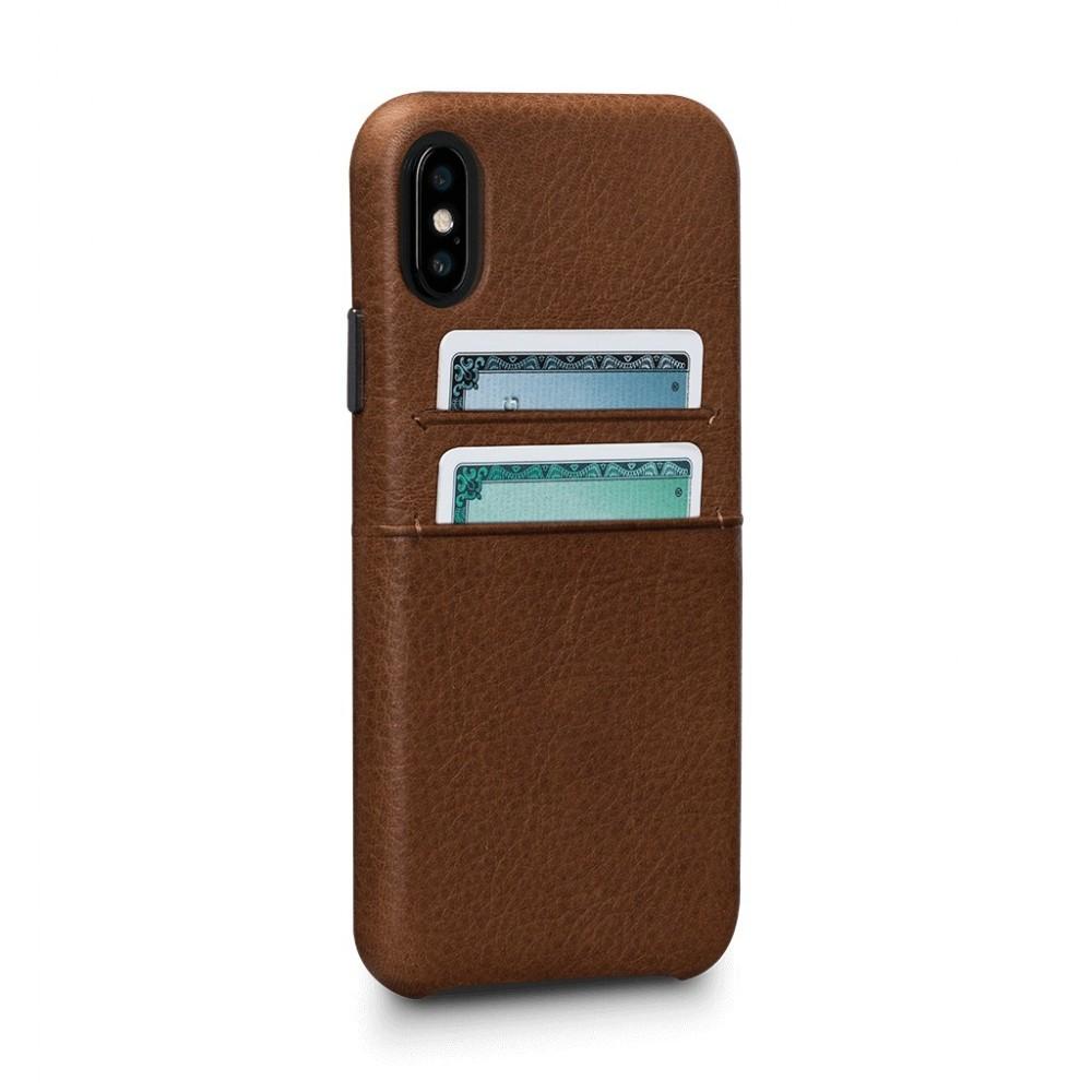 Coque iPhone Xs / iPhone X en cuir véritable porte-cartes marron - Sena Cases