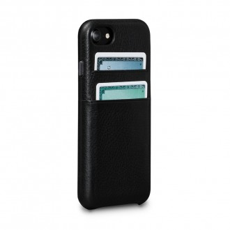 Coque iPhone 8 / iPhone 7 en cuir véritable porte-cartes noir - Sena Cases