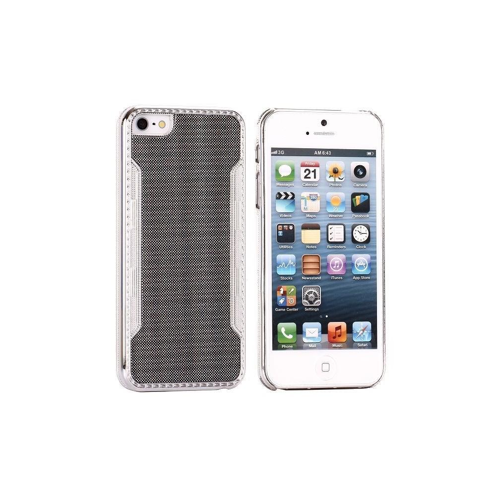 Coque plastique noire contour argenté pour iPhone 5
