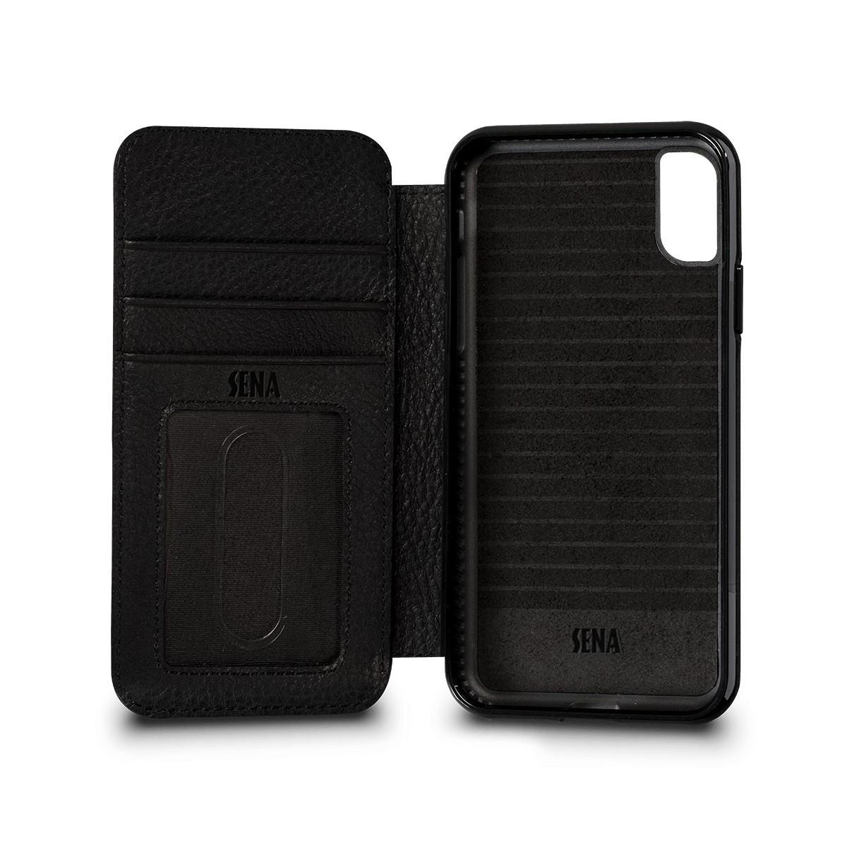Etui iPhone Xs / iPhone X en cuir véritable porte-cartes noir - Sena Cases