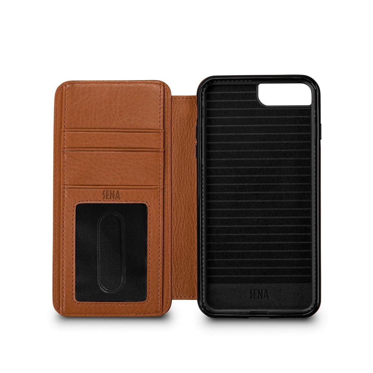 Etui iPhone 8 Plus / iPhone 7 Plus en cuir véritable porte-cartes marron - Sena Cases