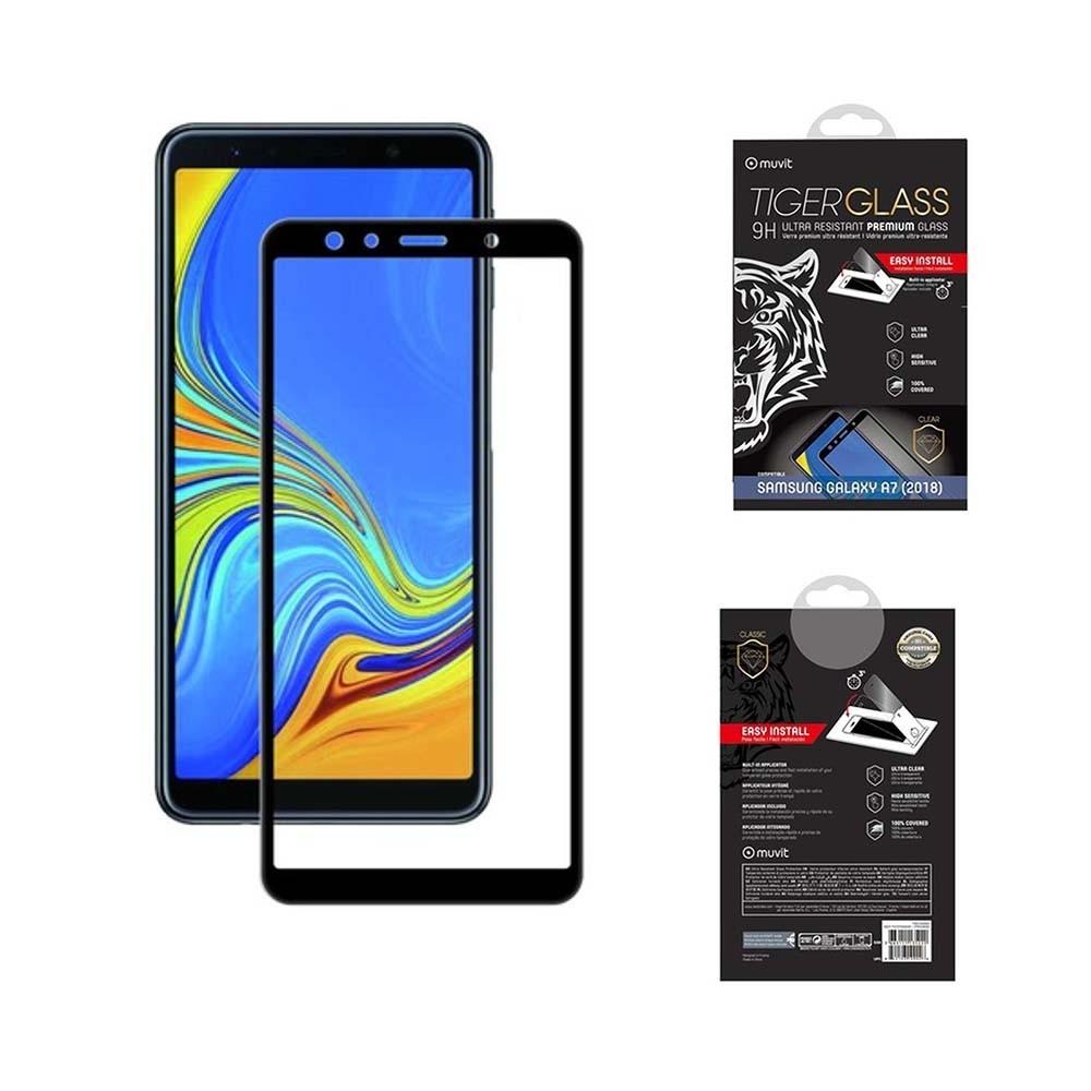 Film Galaxy A7 (2018) protection écran verre trempé avec applicateur - Muvit