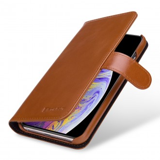 Etui iPhone Xs Max Porte-cartes Talis cognac en cuir véritable - Stilgut