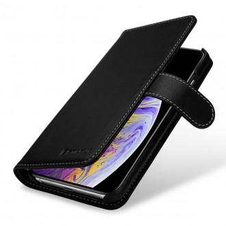 Etui iPhone Xs Max Porte-cartes Talis Noir nappa en cuir véritable - Stilgut