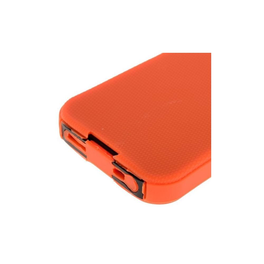 Coque plastique orange avant-arrière ultra résistante logo apparent pour iPhone 5