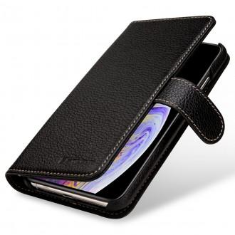 Etui iPhone Xs Max portefeuille Talis cuir véritable noir - Stilgut