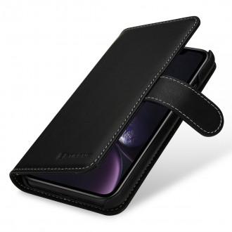 Etui iPhone Xr Porte-cartes Talis Noir nappa en cuir véritable - Stilgut