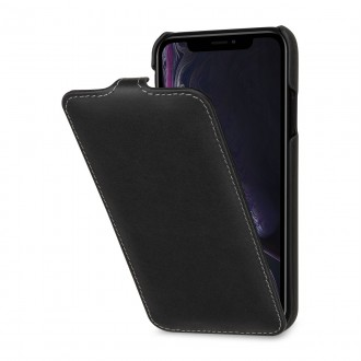Etui iPhone Xr ultraslim noir nappa en cuir véritable - Stilgut