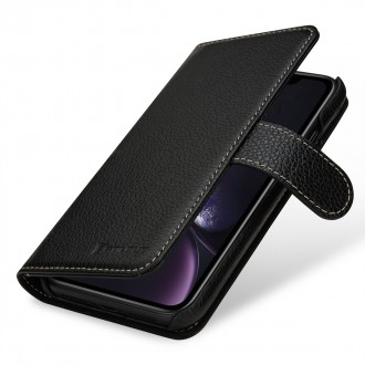 Etui iPhone Xr portefeuille Talis cuir véritable noir - Stilgut