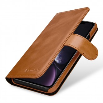 Etui iPhone Xr Porte-cartes Talis cognac en cuir véritable - Stilgut