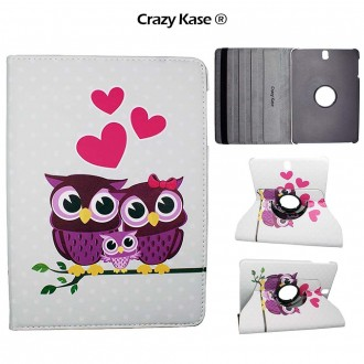Etui Galaxy Tab S3 9.7 Rotatif 360° motif Couple de Chouette - Crazy Kase