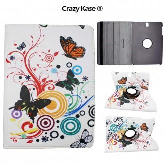 Etui Galaxy Tab S3 9.7 Rotatif 360° motif Papillons et Cercles - Crazy Kase