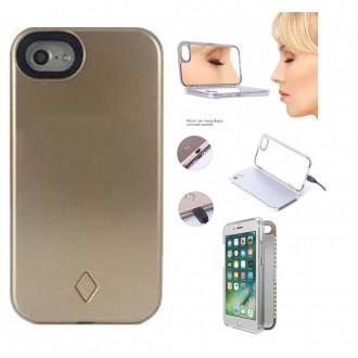 Coque iPhone X doré avec miroir et Led - Crazy Kase