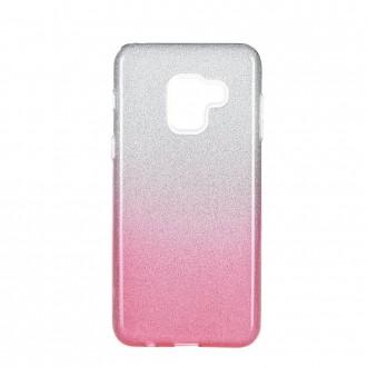 Coque Galaxy A8 (2018) à paillettes roses et argentées - Kaku