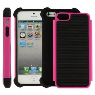 Coque plastique noire et rose ultra résistante pour iPhone 5