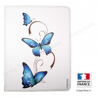 Etui iPad 2 / 3 / 4 Rotatif 360° Blanc motif Papillon sur Arabesque - Crazy Kase