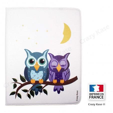 Etui iPad 2 / 3 / 4 Rotatif 360° Blanc motif chouettes au clair de lune - Crazy Kase
