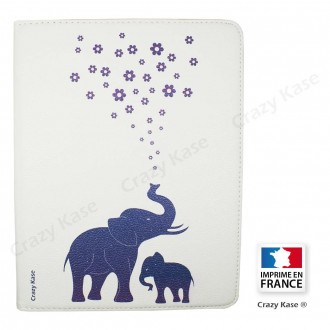 Etui iPad 2 / 3 / 4 Rotatif 360° Blanc motif Eléphant bleu - Crazy Kase