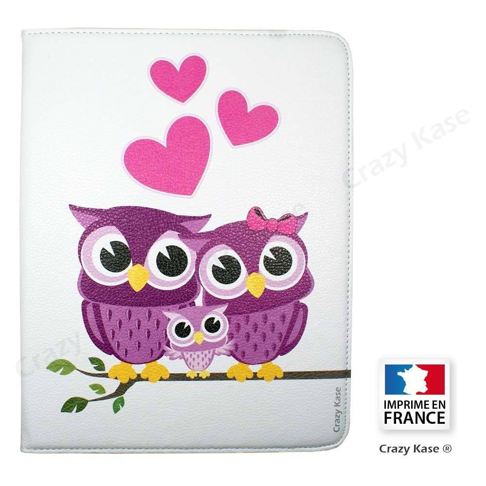 Etui iPad 2 / 3 / 4 Rotatif 360° Blanc motif Amour de Chouette - Crazy Kase