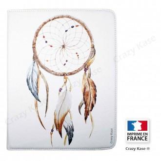 Etui iPad 2 / 3 / 4 Rotatif 360° Blanc motif Attrape Rêves - Crazy Kase