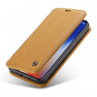 Etui iPhone X Folio Marron clair - CaseMe