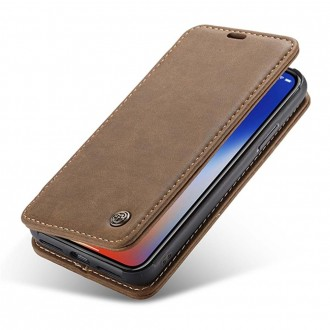 Etui iPhone X Folio Marron - CaseMe