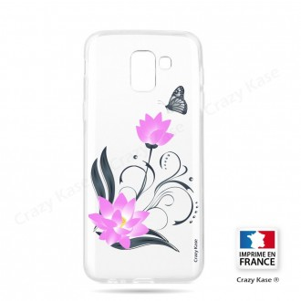 Coque Galaxy J6 (2018)  souple motif Fleur de lotus et papillon- Crazy Kase