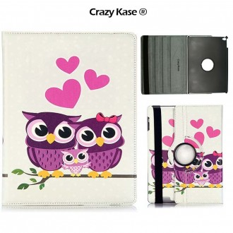 Etui iPad Air rotatif 360° motif Couple de Chouette - Crazy Kase